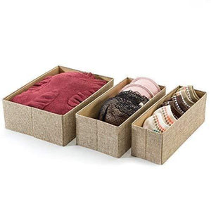 Save drawer storage bins set of 3 decorative closet organizer bins fabric drawer dividers easy to open and folds flat for storage great drawer organizer for storing underwear socksbeige