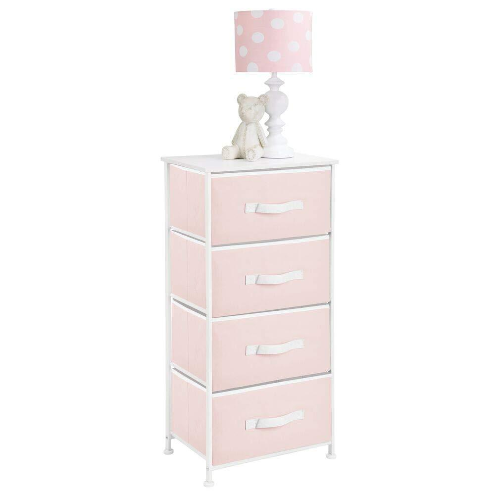 Budget mdesign 4 drawer vertical dresser storage tower sturdy steel frame wood top and easy pull fabric bins multi bin organizer unit for child kids bedroom or nursery light pink white