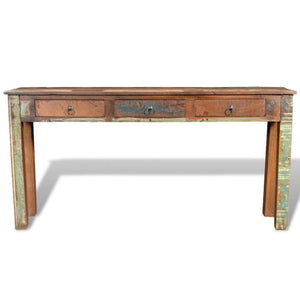 Cheap festnight rustic console table with 3 storage drawers reclaimed wood sideboard handmade entryway living room home furniture 60 x 12 x 30 l x w x h