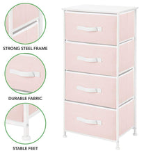 Load image into Gallery viewer, Discover mdesign 4 drawer vertical dresser storage tower sturdy steel frame wood top and easy pull fabric bins multi bin organizer unit for child kids bedroom or nursery light pink white