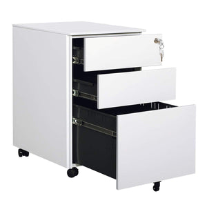 DEVAISE Mini File Cabinet with Locks - 3 Drawers Mobile Pedestal Cabinet Round Edge Design,White