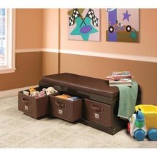Load image into Gallery viewer, Home genius this beautiful kids leather style padded bench with 3 large storage drawers in espresso color adds elegance while helping your child to stay tidy