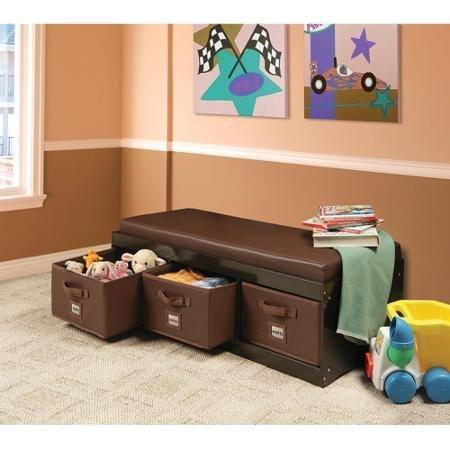 Home genius this beautiful kids leather style padded bench with 3 large storage drawers in espresso color adds elegance while helping your child to stay tidy