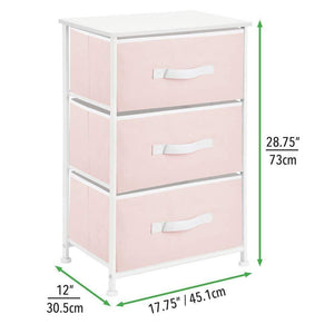 Home mdesign 3 drawer vertical dresser storage tower sturdy steel frame wood top and easy pull fabric bins multi bin organizer unit for child kids bedroom or nursery light pink white