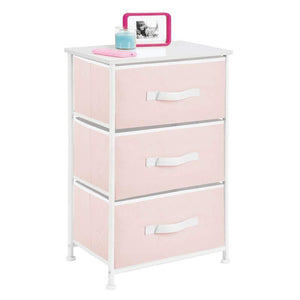 Great mdesign 3 drawer vertical dresser storage tower sturdy steel frame wood top and easy pull fabric bins multi bin organizer unit for child kids bedroom or nursery light pink white
