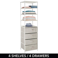 Load image into Gallery viewer, Save mdesign vertical dresser storage tower sturdy steel frame easy pull fabric bins organizer unit for bedroom hallway entryway closets textured print 4 drawers 4 shelves linen tan