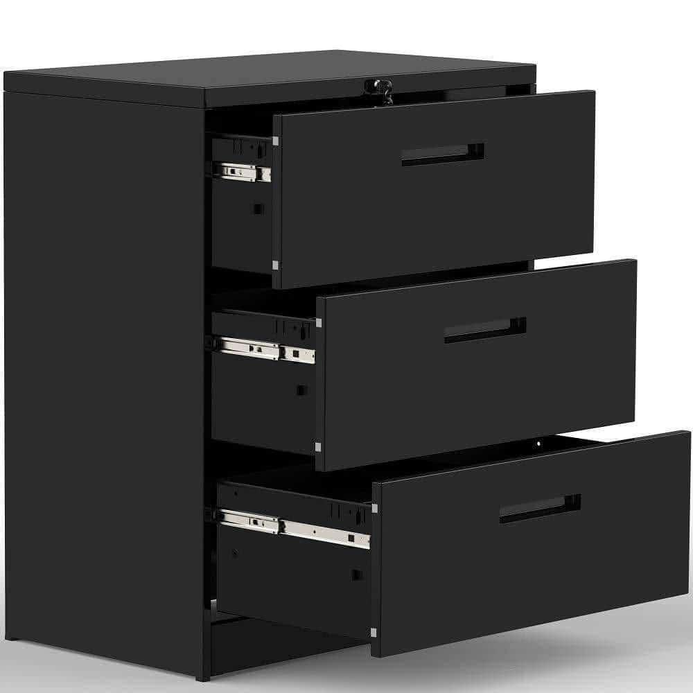 Order now 3 drawers white lateral file cabinet with lock lockable heavy duty filing cabinet steel construction blackcurve handle