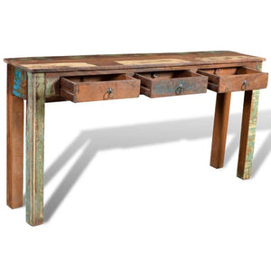 Buy now festnight rustic console table with 3 storage drawers reclaimed wood sideboard handmade entryway living room home furniture 60 x 12 x 30 l x w x h