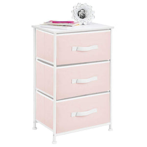 Heavy duty mdesign 3 drawer vertical dresser storage tower sturdy steel frame wood top and easy pull fabric bins multi bin organizer unit for child kids bedroom or nursery light pink white