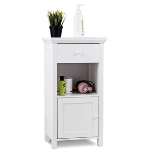 Discover the best tangkula bathroom floor storage cabinet wooden storage cabinet for home office living room bathroom one drawer cupboard organize freestanding cabinet white