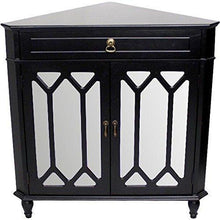 Load image into Gallery viewer, Buy now heather ann creations the dorset collection contemporary style wooden double door floor storage living room corner cabinet with hexagonal mirror inserts and 1 drawer black