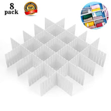 Load image into Gallery viewer, 8pcs DIY Plastic Grid Drawer Divider Household Storage ShineMeThickening Housing Spacer Sub-grid Finishing Shelves for Home Tidy Closet Stationary Mak