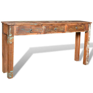 Best seller  festnight rustic console table with 3 storage drawers reclaimed wood sideboard handmade entryway living room home furniture 60 x 12 x 30 l x w x h