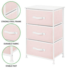 Load image into Gallery viewer, Kitchen mdesign 3 drawer vertical dresser storage tower sturdy steel frame wood top and easy pull fabric bins multi bin organizer unit for child kids bedroom or nursery light pink white