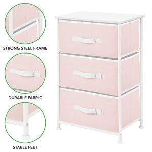 Kitchen mdesign 3 drawer vertical dresser storage tower sturdy steel frame wood top and easy pull fabric bins multi bin organizer unit for child kids bedroom or nursery light pink white