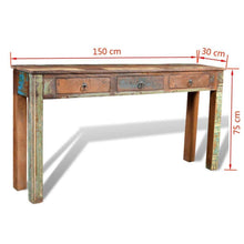 Load image into Gallery viewer, Buy festnight rustic console table with 3 storage drawers reclaimed wood sideboard handmade entryway living room home furniture 60 x 12 x 30 l x w x h