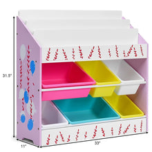 Load image into Gallery viewer, Try costzon kids toy storage organizer bookshelf children bookshelf with 6 multiple color removable bins shelf drawer 3 shelf sleeves ideal for kids room playroom and class room pink