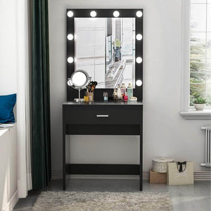 Discover the best tribesigns vanity set with lighted mirror makeup vanity dressing table dresser desk with large drawer for bedroom black 10 cool led bulbs