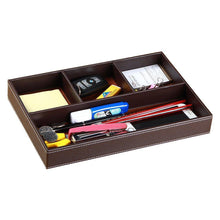 Load image into Gallery viewer, Amazon best valet tray men nightstand drawer organizer 4 compartments pu leather office table stationery storage box for key phone coin wallet jewelry glasses cosmetics business card pen watch note paper brown