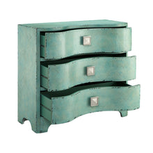 Load image into Gallery viewer, The best madison park fulton accent chest wood living room 3 drawer storage unit cracked antique blue teal antique rustic style floor cabinet