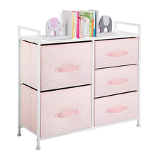 Load image into Gallery viewer, Top mdesign wide dresser storage tower furniture metal frame wood top easy pull fabric bins organizer for kids bedroom hallway entryway closets dorm chevron print 5 drawers pink white