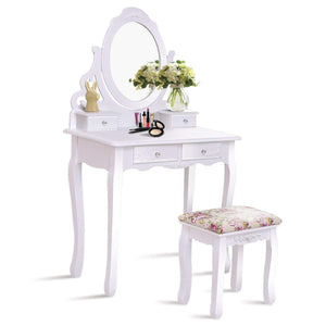 Budget friendly casart vanity dressing table with mirror and stool 360 rotating oval makeup mirror classic style delicate carved cushioned benches wood legs vanity tables with divided drawers white