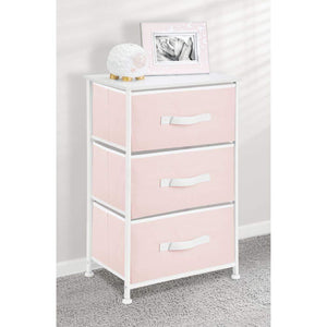 Latest mdesign 3 drawer vertical dresser storage tower sturdy steel frame wood top and easy pull fabric bins multi bin organizer unit for child kids bedroom or nursery light pink white
