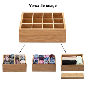 Discover the best gobam tie and belt organizer box closet underwear storage box drawer divider for bras briefs socks and mens accessories compartments of 12 natural bamboo