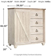 Load image into Gallery viewer, Get ashley furniture signature design willowton dressing chest casual 4 drawers sliding door storage whitewash finish faux plank top antiqued brass hardware
