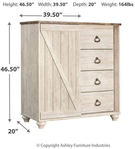 Get ashley furniture signature design willowton dressing chest casual 4 drawers sliding door storage whitewash finish faux plank top antiqued brass hardware