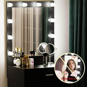 Discover tribesigns vanity set with lighted mirror makeup vanity dressing table dresser desk with large drawer for bedroom black 10 cool led bulbs