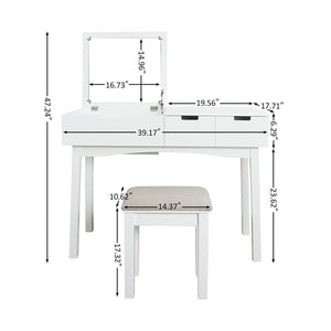 Budget vanity table with large sized flip top mirror makeup dressing table with a cushion stool set writing desk with two drawers one small removable organizers easy assembly