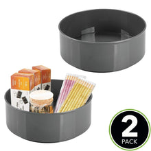 Load image into Gallery viewer, Best mdesign deep plastic spinning lazy susan turntable storage container for desktop drawer closet rotating organizer for home office supplies erasers colored pencils 2 pack charcoal gray