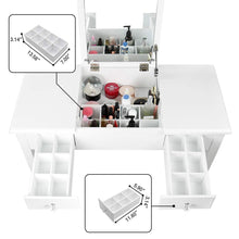 Load image into Gallery viewer, Budget aodailihb vanity table with flip top mirror makeup dressing table writing desk with cushioning makeup stool set 2 drawers 3 removable organizers easy assembly white