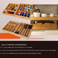 Load image into Gallery viewer, Related voxxov silverware organizer bamboo cutlery and flatware drawer organizer tray kitchen expandable utensils drawer organizer with drawer dividers 2 in 1 design ideal for organizing other accessories