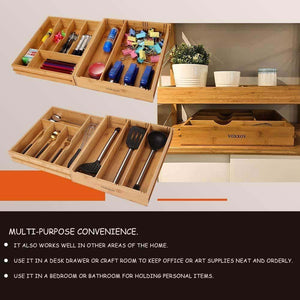 Related voxxov silverware organizer bamboo cutlery and flatware drawer organizer tray kitchen expandable utensils drawer organizer with drawer dividers 2 in 1 design ideal for organizing other accessories