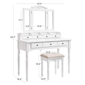 Top vasagle vanity set tri folding necklace hooked mirror 7 drawers 6 organizers makeup dressing table with cushioned stool easy assembly for women white urdt06m