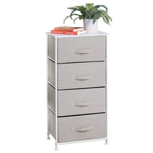 Save mdesign vertical furniture storage tower sturdy steel frame wood top easy pull fabric bins organizer unit for bedroom hallway entryway closets chevron zig zag print 4 drawers taupe