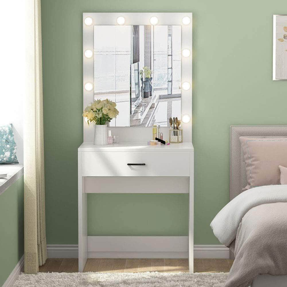New tribesigns vanity set with lighted mirror makeup vanity dressing table dresser desk with large drawer for bedroom white 10 warm led bulb