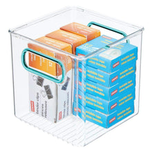 Load image into Gallery viewer, Best seller  mdesign plastic home office storage organizer container with handles for cabinets drawers desks workspace bpa free for pens pencils highlighters notebooks 6 cube 4 pack clear blue