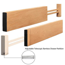 Load image into Gallery viewer, Heavy duty hossejoy bamboo drawer divider kitchen drawer organizer spring adjustable expendable drawer dividers best dividers for kitchen dresser bedroom baby drawer bathroom desk pack of 4