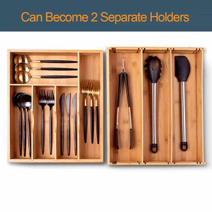 Select nice voxxov silverware organizer bamboo cutlery and flatware drawer organizer tray kitchen expandable utensils drawer organizer with drawer dividers 2 in 1 design ideal for organizing other accessories