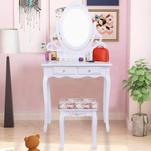 Load image into Gallery viewer, Buy casart vanity dressing table with mirror and stool 360 rotating oval makeup mirror classic style delicate carved cushioned benches wood legs vanity tables with divided drawers white