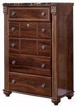 Load image into Gallery viewer, Storage ashley furniture signature design gabriela chest of drawers 5 drawer dresser antiqued goldtone dark reddish brown