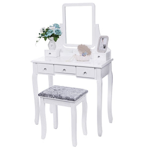 Purchase bewishome vanity set with mirror cushioned stool dressing table vanity makeup table 5 drawers 2 dividers movable organizers white fst01w