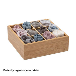 Exclusive gobam tie and belt organizer box closet underwear storage box drawer divider for bras briefs socks and mens accessories compartments of 12 natural bamboo