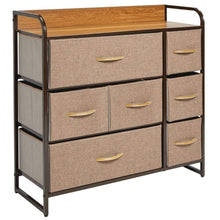 Load image into Gallery viewer, The best mdesign wide dresser storage chest sturdy steel frame wood top easy pull fabric bins organizer unit for bedroom hallway entryway closet textured print 7 drawers coffee espresso brown
