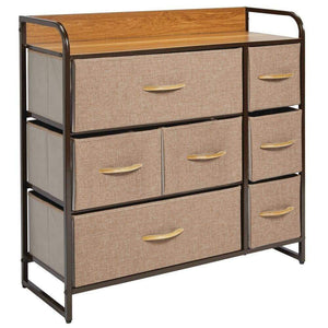The best mdesign wide dresser storage chest sturdy steel frame wood top easy pull fabric bins organizer unit for bedroom hallway entryway closet textured print 7 drawers coffee espresso brown