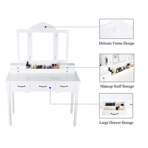 Storage organizer homecho makeup vanity table set removable tri folding mirror and 8 jewelry necklace hooks with 7 drawers and 6 makeup organizers dressing table with cushioned stool bedroom white color hmc md 011