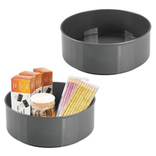 Load image into Gallery viewer, Top mdesign deep plastic spinning lazy susan turntable storage container for desktop drawer closet rotating organizer for home office supplies erasers colored pencils 2 pack charcoal gray